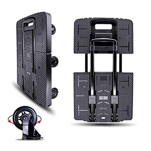 Folding Hand Truck Portable Trolley Dolly Compact Utility Luggage Cart with 245Kg/540Lbs Heavy Duty 7 Removable Wheels Telescoping Handle for Moving Travel Shopping Office Use (BY03)