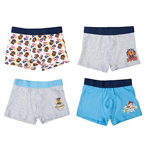 United Labels Paw Patrol Boxershorts 4er Pack für Jungen, Unterwäsche Unterhose Kinder, Blau Grau (110/116)