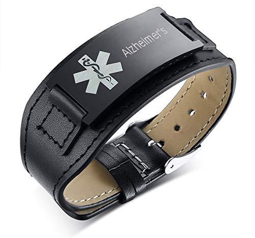PJ JEWELLERY Alzheimer's Schwarzer breiter Edelstahl & Leder Verstellbarer medizinischer Alarm ID Armbänder Armband für Männer Vater