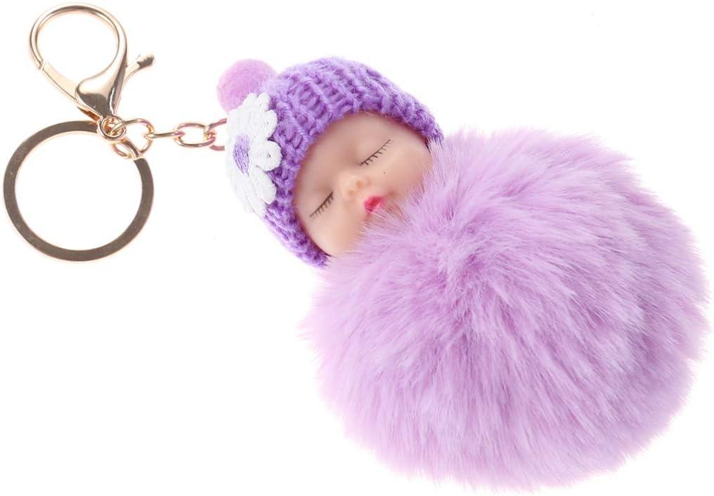 Garneck Doll Pom Pom Keychain Cute Fluffy Sleeping Baby Doll Keychain Pompom Women Car Keyring Wallet Bag Phone Pendant Bag Charm Purple