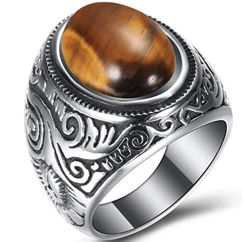 Retro Vintage Stainless Steel Turquoise Onyx Ring (Brown, 12)