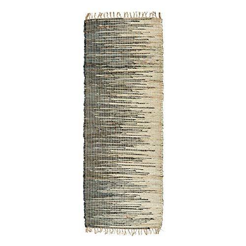 MADAM STOLTZ Tapis de Couloir en Jute Naturel/Noir 70 x 200 cm