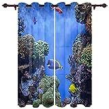 BEDJFH 2 Piezas Cortina Opaca con Ojales Pescado de mar Azul Cortinas de Salón Moderno Poliéster Proteccion Privacidad para Habitación y Dormitorio Cortinas 110 x 215 cm