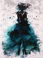 ZNLEY.O ノルディックキャンバス絵画女性フィギュア要約絵画リビングルームの装飾カラフルなドレスレディーウォールアート絵画プリントガールベッドルーム (Color : A, Size (Inch) : 30x40cm no frame)
