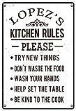 none_branded Lopez'S Kitchen Rules Cartel de Chapa Metal Advertencia Placa de Chapa de Hierro Retro Cartel Vintage para Dormitorio Pared Familiar Aluminio Arte Decoración