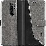 Mulbess Handyhülle Kompatibel mit Xiaomi Redmi 9 Hülle Leder, Etui Flip Handytasche Schutzhülle für Xiaomi Redmi 9 Hülle, Grau