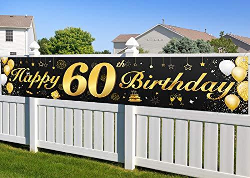 60. Geburtstagsfeier Dekorationen Banner für Männer und Frauen, wesentliche Dekoration für 60. Geburtstagsfeier, Lange Größe Schwarz und Gold 60. Geburtstag Banner 210 × 40 cm (82,7 × 15,7 Zoll)
