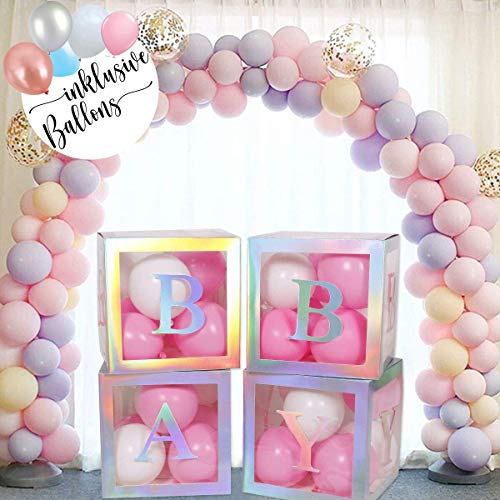 Babyparty Gender Reveal Deko Boxen - 4 silberne quadratische Blocks zur Dekoration inklusive Luftballons und Baby Buchstaben - Für Baby Shower von Junge und Mädchen