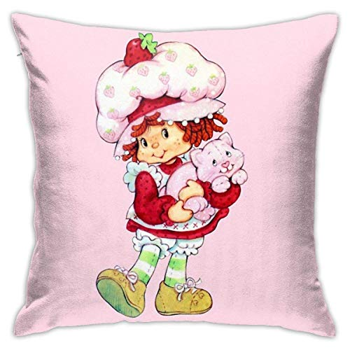 CIBUDAYI Strawberry Shortcake & Custard Decorative Throw Pillow Covers for Sofa Couch Cushion Pillow Cases 18x18 Inch