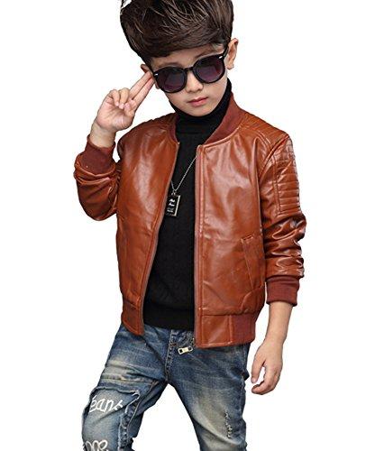 YoungSoul Cazadora Biker de Piel sintético de Invierno Chaqueta de imitación Cuero Abrigos de Vestir para Bebe niños Marrón(con Forrado) Etiqueta 130cm