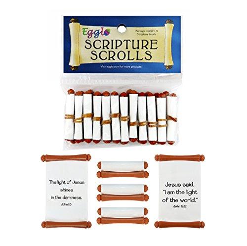 Bible Scrolls Easter Egg Toys [Christian - Religious] for Kid's Easter Basket Stuffers (12 Pack)