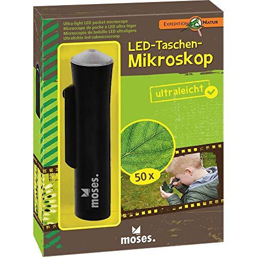moses. Verlag GmbH 9788 Expedition Natur - Microscopio Tascabile a LED, ingrandimento 50x, Facile da Usare, Colore: Nero