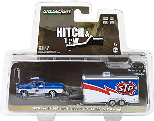 Greenlight 32120-A Hitch & Tow Series 12 - 1970 Ford F-100 S T P and STP Racing Trailer 1:64 Scale