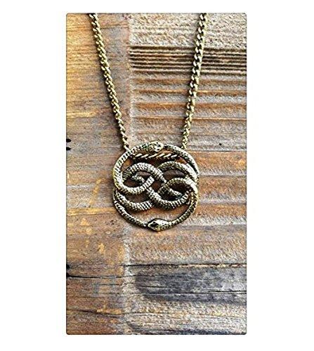 Unendliche Geschichte Antik Bronze Halskette, Auryn Halskette, lang oder Collier, never ending Story Schlange Anhänger, Schlange Kreis Halskette
