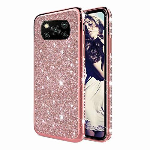 TYWZ Strass Hülle für Xiaomi Poco X3 NFC,Glitzer Diamant Glanz Bling Mädchen Case Cover Ultra-Slim Stoßfeste Anti-Rutsch Silikon Schutzhülle-Roségold