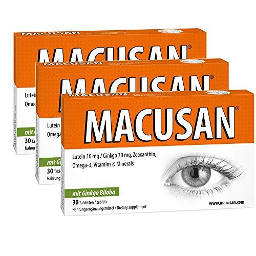 Macusan® Tabletten Erhalten Die Sehkraft - Mit Ginkgo Zeaxanthin Lutein Für Augen Nahrungsergänzung Gegen Altersbedingte-Makuladegeneration AMD.