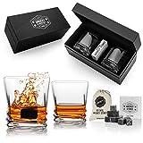 Juego de whisky de Texas premium con 2 vasos y 12 piedras de whisky reutilizables para parejas amantes del whisky.