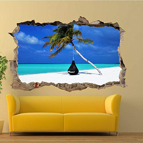 Pegatinas De La Pared De La Playa Tropical 3D Art Mural Poster Decal Decoración Del Hogar 60X90Cm