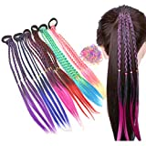 Girl Hair Extension Accessories-Rubber Band Elastic Band Hairstyle Ponytail Braid Beauty Hair Band Twist Colorful Wig Braid Head Rope Girl Dress Beautification Hair Accessories (6 PCS)
