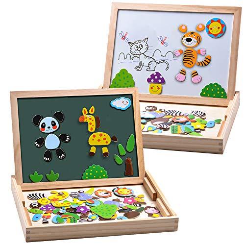MOVEONSTEP 100 Piezas Puzzles de Madera Magnético, Rompecabezas Magnetico, Puzzle Magnetico, Pizarra Magnética Rompecabezas Madera Tablero de Dibujo de Doble Cara Juguete Educativo Niños de 3+(Panda)