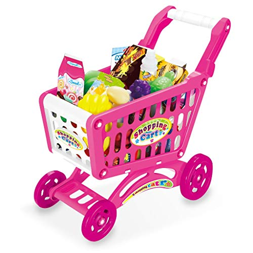 Kids Shopping Cart Toy Grocery Store Playset, Children's Shopping Cart Toy Groceries Pretending Toy Groceries, with Pretend Play Food Fruit and Vegetables, Best Gift for Boys Girls, US Fast Shipment