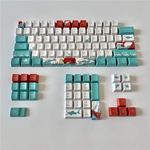 qidongshimaohuacegongqiyouxiangongsi Tastenkuppen 108 Key Key Japanische Wurzel Schriftart Keycaps Farbstoff Sublimation PBT OEM Coral Sea Keycaps für mechanische Tastatur (Color : 108key English)