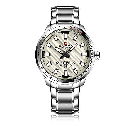 NAVIFORCE 9090 (bianco argento) orologio sportivo da uomo impermeabile in acciaio inox calendario settimanale display display al quarzo