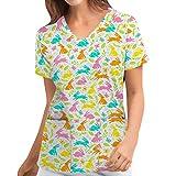 Briskorry Kasack - Ropa de aseo para mujer, diseño de conejo, escote en V, manga corta, con dos bolsillos, ropa de trabajo, uniforme de enfermería, multicolor, XL