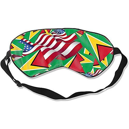 Guyana Sleeping Eye Masker, vlag met Amerika vlag Stijlvolle kleurrijke slaapoogmaskers voor hotelvliegtuig reizen
