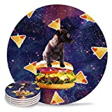 4 Pieces Ceramic Drink Coasters,Ceramic Absorbent Round Cork Coasters Base Coasters Set for Housewarming Gifts, Apartment Kitchen Room Bar Decor,Dog Sitting on a Hamburger in Space