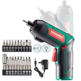 Cordless Screwdriver 6 N.m, HYCHIKA 3.6V 2.0Ah Electric Screwdriver Gun, Adjustable 2 Position Handles, Front LED, DC Charging, 20pcs Accessories