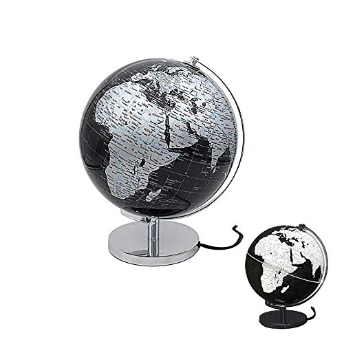 Lesser & Pavey Rotating World Globe Silver and Black Light Up Ornament