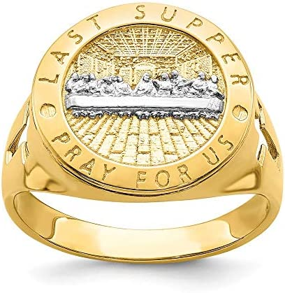 14k Yellow Gold The Last Super Mens Band Ring Size 10 00 Man Religious Fine Jewelry For Dad product image