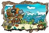 Piraten Schiff Kinder Hai Meer Wandtattoo Wandsticker Wandaufkleber D0796 Größe 70 cm x 110 cm