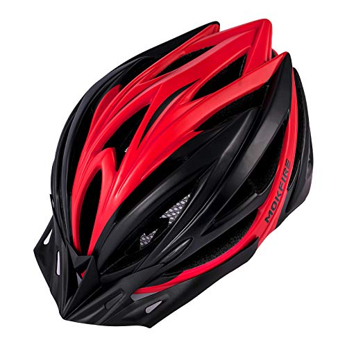 MOKFIRE Adult Bike Helmet with Removable Visor Rear Light CE Certified Bicycle Cycling Helmet Adjustable Lightweight Mountain Road Helmets for Men Women 58 62cm