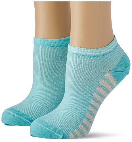 Tommy Hilfiger Womens Summer Stripes Women's Sneaker-Trainer (2 Pack) Socks, Aqua Green, 35/38