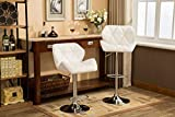 Roundhill Furniture Glasgow Contemporary Tufted Adjustable Height Hydraulic White Bar Stools, Set of 2