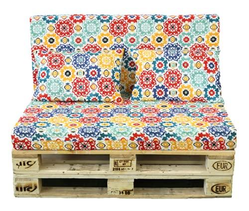 TIENDA EURASIA® Cojines para Palets - 6 Estampados Modernos - Conjunto 4 Piezas - Funda de Tela Lavable y Relleno de Espuma de 11 cm - Ideal para Espacios de Interior y Exterior (Mosaico Colores)