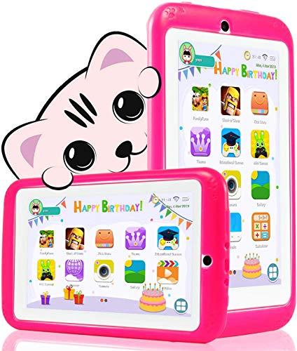 Tablet Niños 7 Pulgadas Android 10.0,WiFi - QuadCore - Certificación GMS YESTEL, 1GB + 16GB, Funda Silicona Portátil - Educativo | Regalo Cumpleaños para Niños (Rojo)