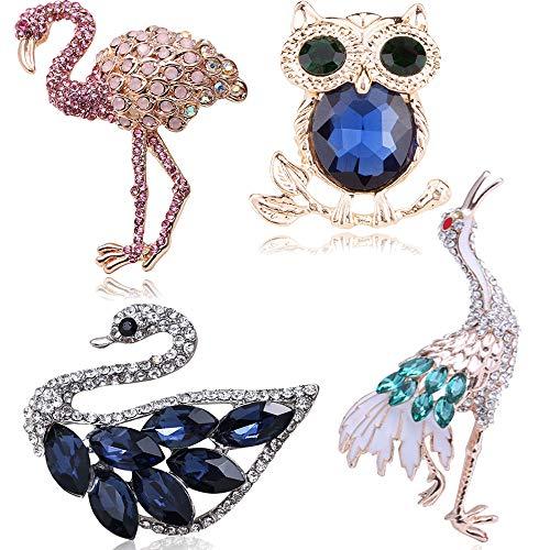 Tpocean 4 broches de cristal con estrás, elegantes cisne, flamenco, pavo real,...