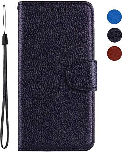 vingarshern Hülle für LG K5 Schutzhülle Tasche Klappbares Magnetverschluss Flip Hülle Lederhülle Handytasche LG K5 Hülle Leder Etui Brieftasche(Schwarz) MEHRWEG