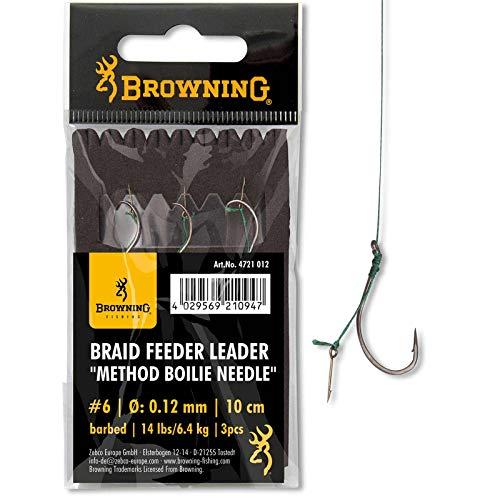 Browning Bronze 4 Braid Feeder Leader Method Boilie Needle 7,3kg,16lbs 0,14mm 10cm 3Stück, 4