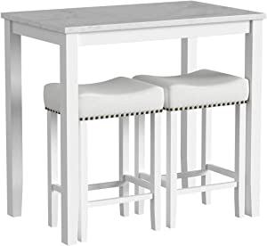 Nathan James 41201 Viktor Dining Set Kitchen Pub Table Marble Top Fabric Seat Wood Base, Light Gray/White