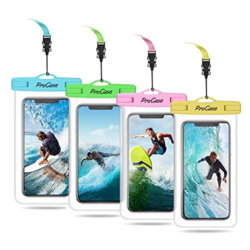 ProCase 4 Bolsas Impermeables Universales para iPhone 12 Mini/Pro/Pro MAX/iPhone SE 2020/XS Max/XR/X/8/7+, Galaxy S20/S20 Ultra 5G/S10/S10e/S9/S9+/Note8, Huawei Xiaomi LG BQ hasta 7.0' -Multicolores