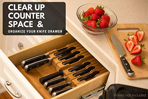 In-Drawer Bamboo Knife Block Holds 12 Knives