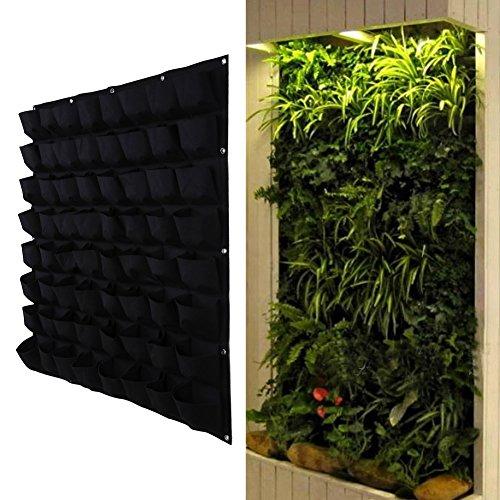 Demiawaking, fioriera in sospensione di tipo verticale, in poliestere, da appendere alla parete, adatta per giardinaggio, sale e ambienti interni, con 4, 6, 12 o 18 tasche, feltro, Black, 64 Pocket