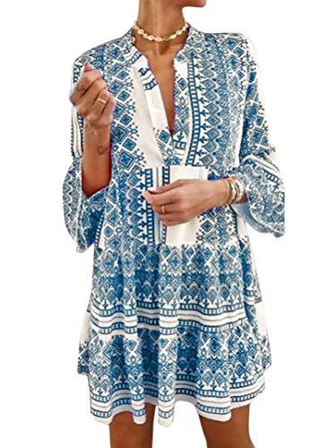 ORANDESIGNE Sommerkleider Damen V-Ausschnitt Blusenkleid Minikleid Langarm Boho Blumendruck Knielanges Kleid B-Blau XXL