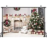 LYWYGG 7x5FT Fondo de Fotografía de Navidad Chimenea Fondo de Fotografía de Árbol de Navidad Fondo de Fotografía de Fiesta de Navidad Fondo de Fotografía de Bebé CP-281