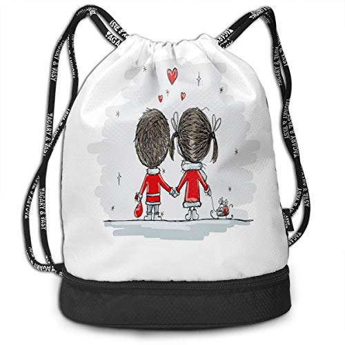 NoBrand Drawstring Backpack String Bag Casual, D2792 Couple Holding Hands Winter Stars And Valentines Hearts Christmas Cartoon
