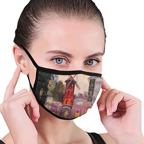 Ademende Mond Cover,Oorlus Neus Cover,Gezichtsdecoraties,Schilderij Van Moulin Rouge In Parijs Centrum Van Liefde Vintage Frankrijk Art Print Half Gezicht Cover,Warm Respirator,Stof-Proof